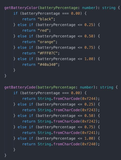 Battery Indicator Component Code Screenshot