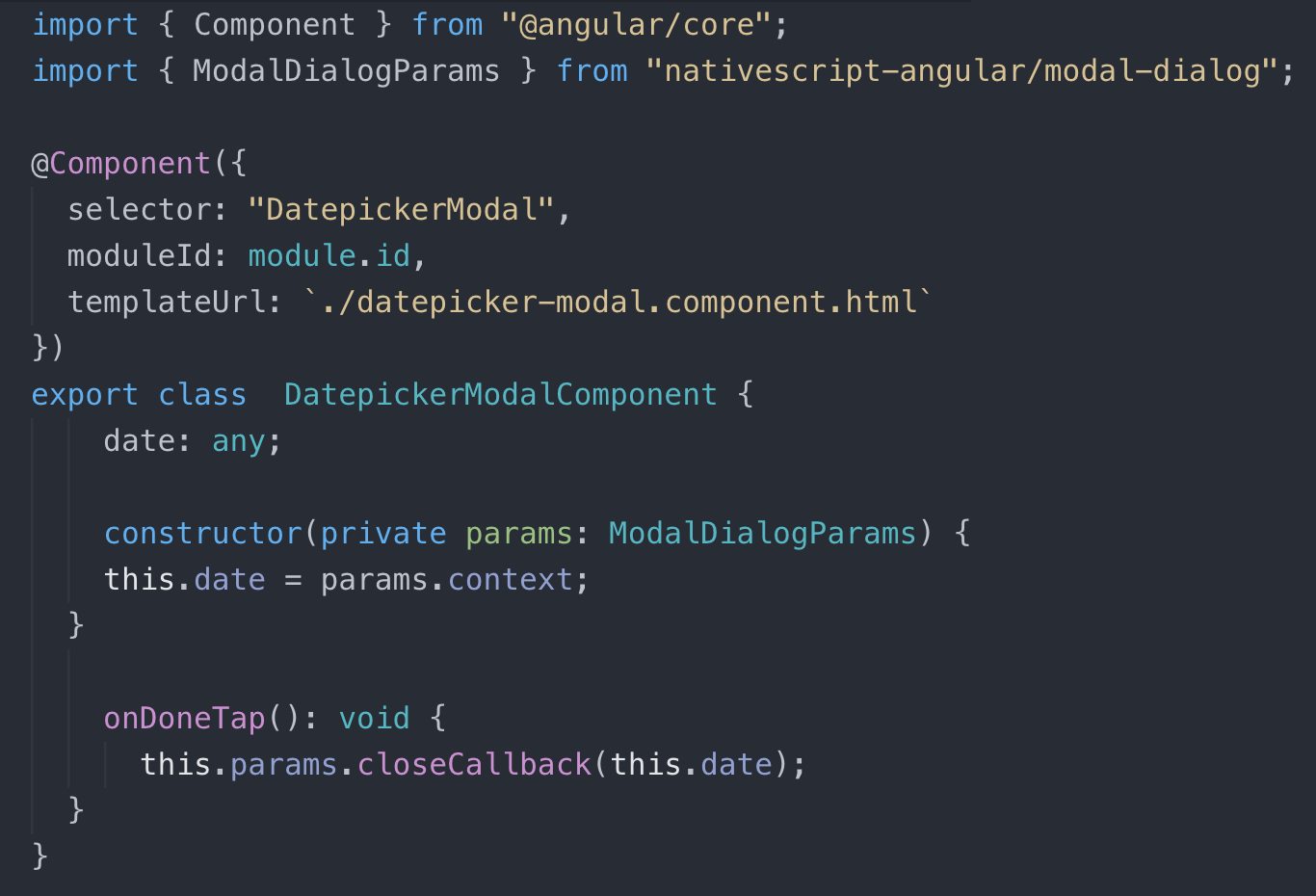 Modal Component Code