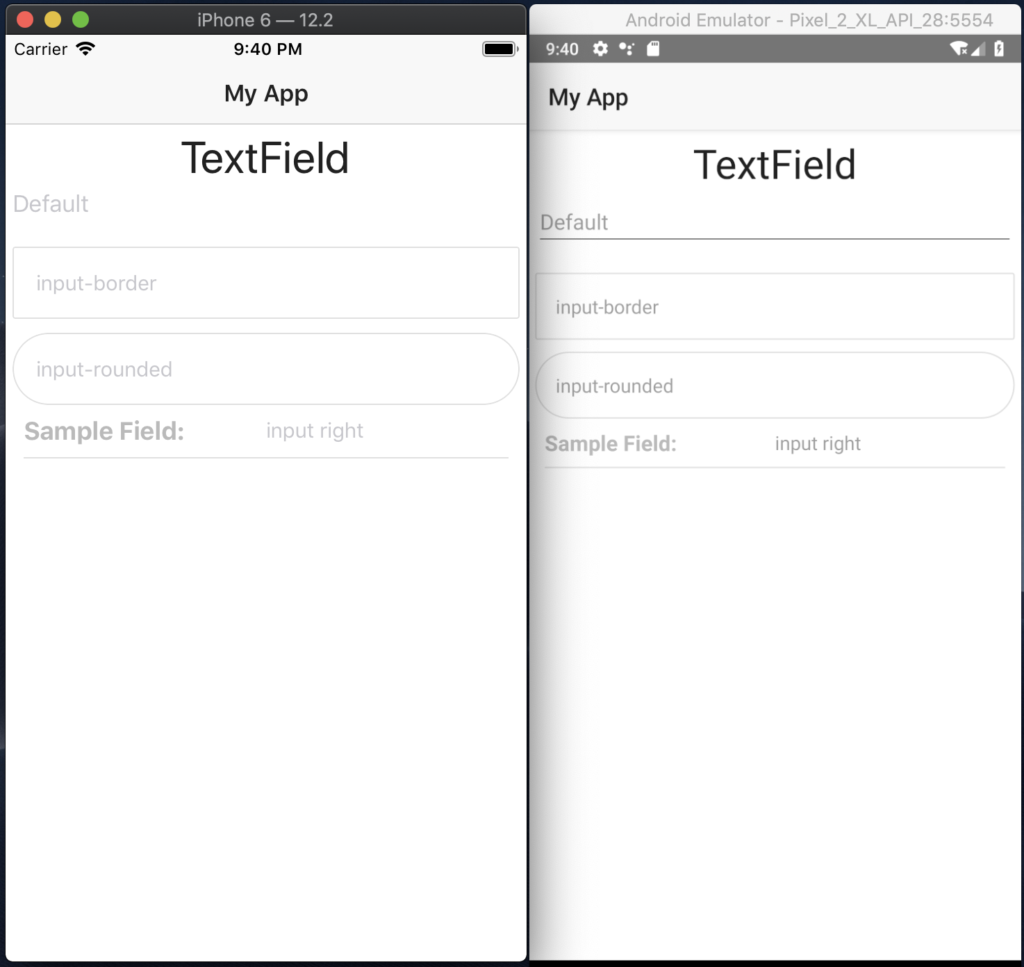 TextField Differences Comparison